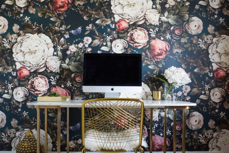 cool office desks floral wallpaper glass flower vase gold chairs shad cushion white top gold decorations accents metal base