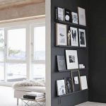 Dark Grey Wall Partition With Black And White Painting