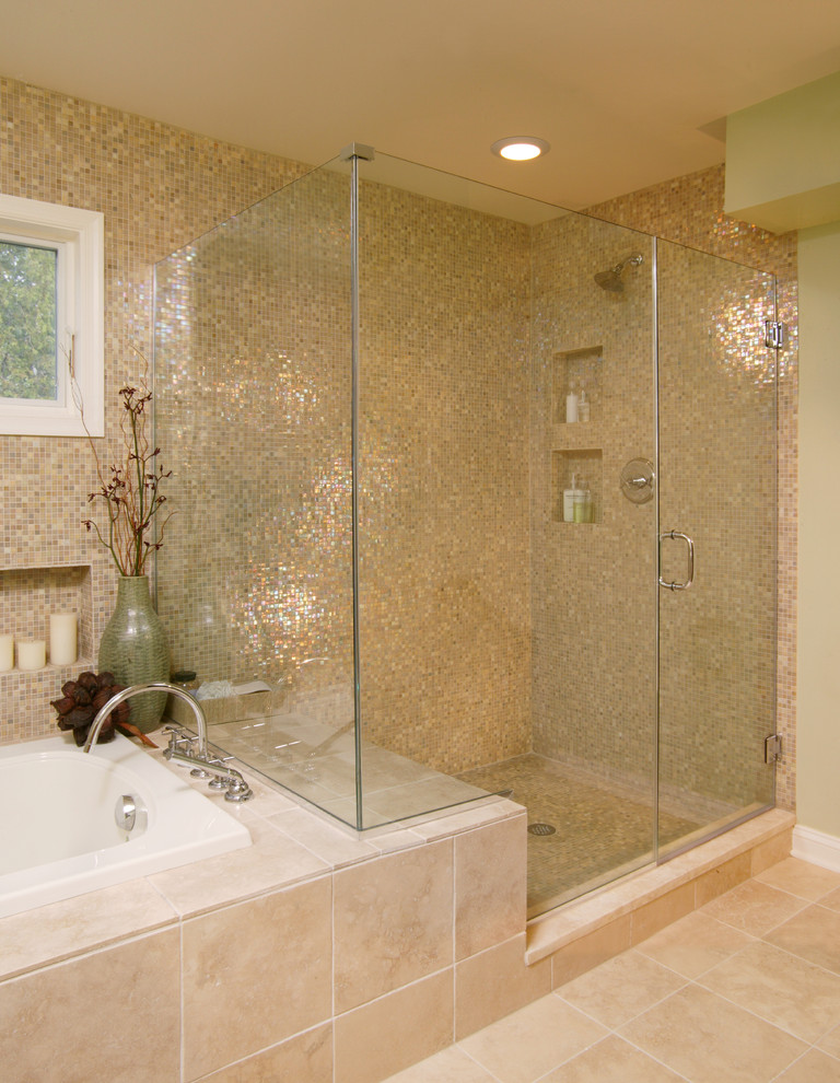 delta tub shower faucet mosaic gold tiles window built in bathtub tub filler frameless glass doors recessed lighting beige floor tile
