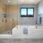 Delta Tub Shower Faucet Window Grey Mosaic Tiles Built In Bathtub Towel Holder Tug Filler Bathroom Mat Glass Shower Door Recessed Lighting