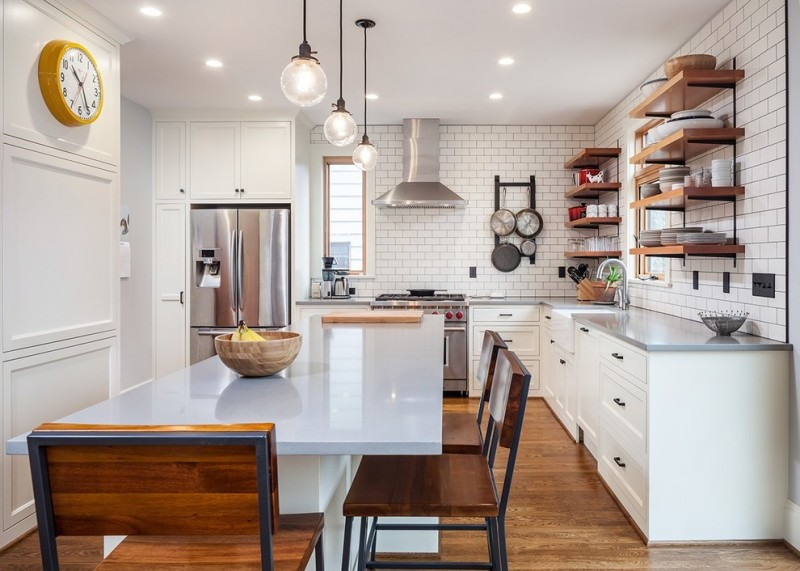 farmhouse kitchen in minimalist colour and furniture with big round bulbs