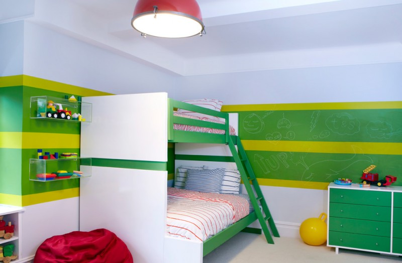 full over queen bunk bed colorful wall glass shelves striped bedding green drawers red bean bag white shelves pendant lamp