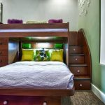 Full Over Queen Bunk Bed Recessed Lighting Purple Bedding Yellow Pillows Drawers Artwor Purple Stool Built In Stairs Green Walls