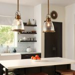 Glass Dome Pendant Light White Countertop Black Kitchen Cabinets Black Island Window White Valance White Subway Backsplash Wall Mounted Shelves