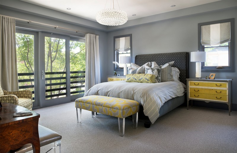 Grey Yellow Bedroom Crystal Handelier Nightstands Table Lamps Window Grey  Roman Shades Yellow Bench Armchair Grey