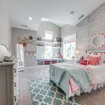 Kids Bedroom With Grey Rug, Wallpaper, Grey Cabinet, Shelves, Mirror, Green Bedding