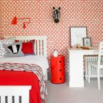 Kids Bedroom With White Table And Chair, White Bedding With White And Red Linen, Light Grey Rug, White And Red Lined Wallpaper