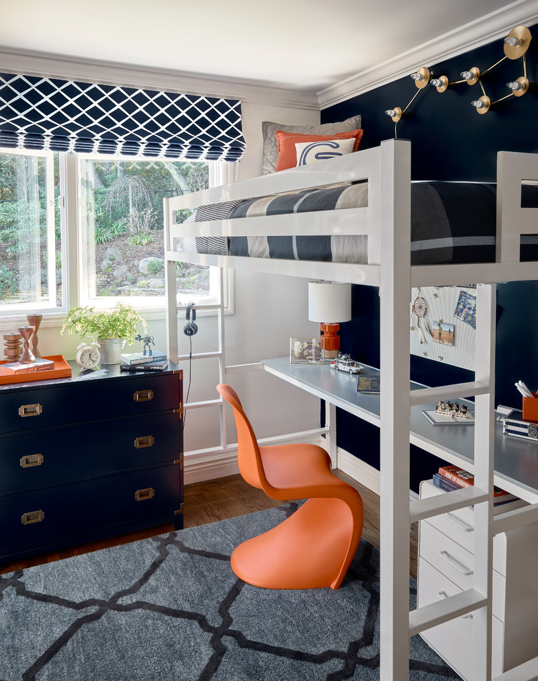 kids desk with chairs white bunk bed orange chair black wall white framed window blue drawers table lamp white drawers area rug window shade