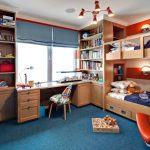 Kids Desk With Chairs Wooden Bunk Bed Built In Shelves Blue Carpet Windows Blue Shade Colorful Chair Table Lamp