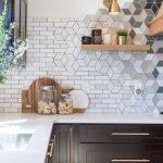 Kitchen With Black Cabinet, White Marble Top, Custom Backsplash