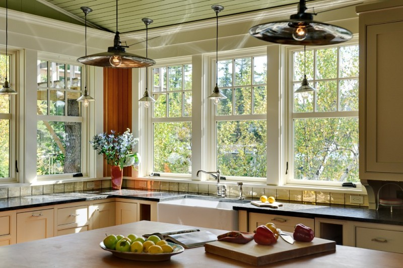 light over kitchen sink flat antique mercury pendants green ceiling black countertop beige cabinets glass windows