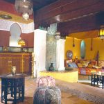Living Room With Yellow Wall, Yellow Curtain On The Ceiling,