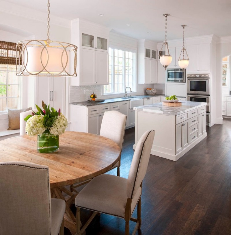 minimalist kitchen with white drum pendant with golden framed