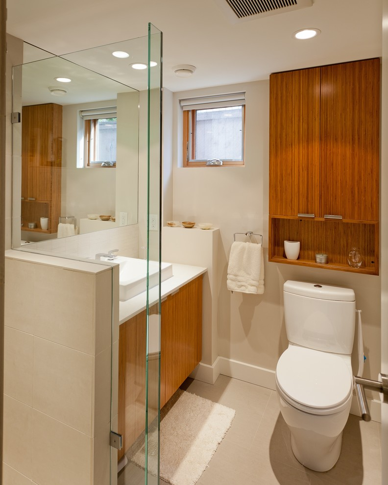 over the toilet storage white bathroom mat window shade recessed lighting wooden vanity whitesink mirror towel holder