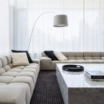 Short Couch Black Striped Area Rug White Floor Lamp White Curtain Round Black Tray Marble Coffee Table Black And White Throw Pillows