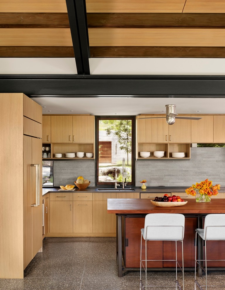 unusual ceiling fans wooden kitchen cabinet brown wooden island white bar stools black countertop shelves window sink grey backsplash