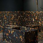 Bathroom With Black Terazzo Tiles, Terazzo Toilet, Terazzo Stool And Bathtub