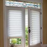 Blinds For Door Window Glass Doors White Blinds Artistic Glass Window Wooden Floor Tan Walls Indoor Plant Black Hardware