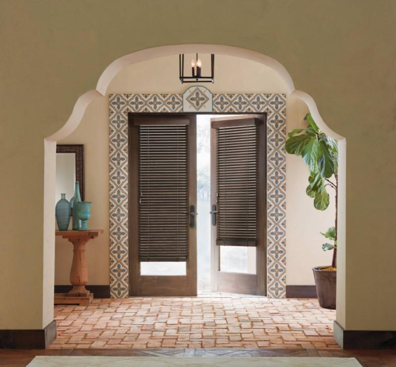 blinds for door window wooden framed door wall tile chandelier indoor plant terra cotta floor tile wooden flooe wall mirror