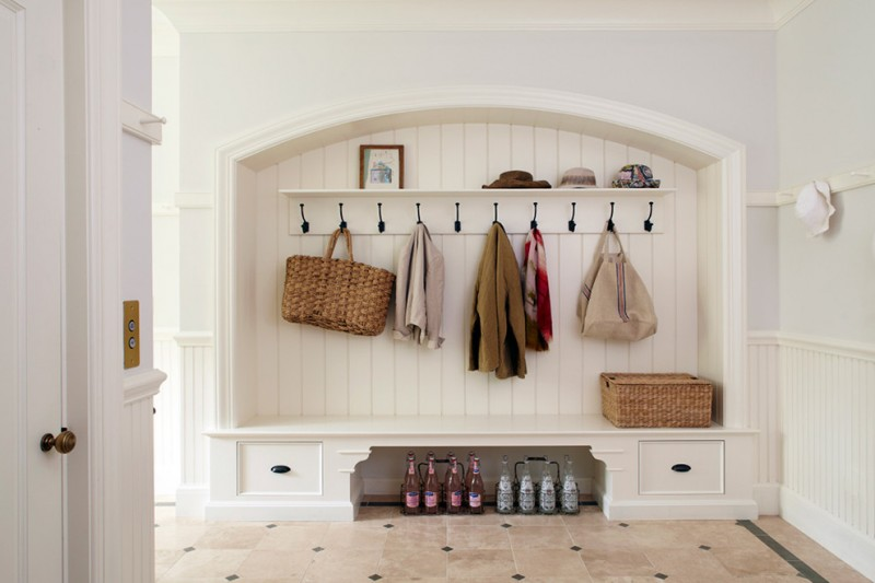 coat rack wall mount built in bench built in storage bottles rattan basket rattan bag arched mudroom black hooks