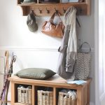 Coat Rack Wall Mount Wooden Rack Metal Hooks Wooden Bench With Storage Rattan Baskets Pillow Umbrella Holder Wooden Floor Rug