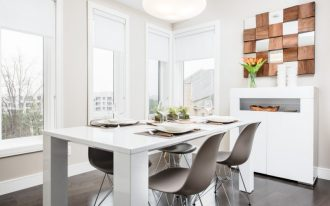 dining chair modern artwork white dining table black floor tile white pendant lamp white cabinet white shade wndows