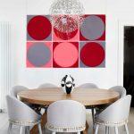 Dining Chair Modern Colorful Artwork Chandelier Round Wooden Pedestal Tablw Decorative Grey Chairs White Walls Wooden Floor