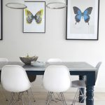 Farmhouse Tables Butterfly Prints Wall Decoration Granite Table Top Mouded White Chairs Chrome Chair Base White Pendant Lamps Beige Floor Tile