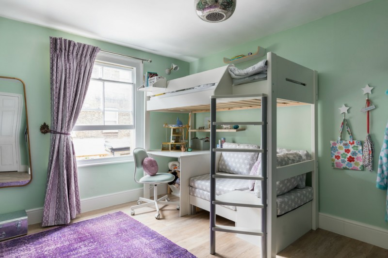 kids bedroom desk ceiling lamp purple rug purple curtain white bunk bed grey ladder wooden floor windows wall mirror