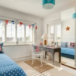Kids Bedroom Desk Mirrored Wardrobe Grey Desk Table Lamp Blue Bedding Triangle Flags Traditional Mat White Chair Window Blue Lamp