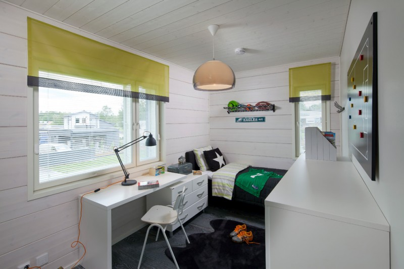 kids bedroom desk pendant lamp green valance table lamp white desk black rug black bedding dressers windows white chair