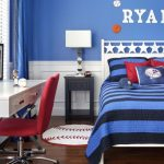 Kids Bedroom Desk Round Rug Nightstand White Bed Blue Bedding Table Lamps Red Chairs Chrome Legs White Desk Window Blue Curtain Wooden Floor