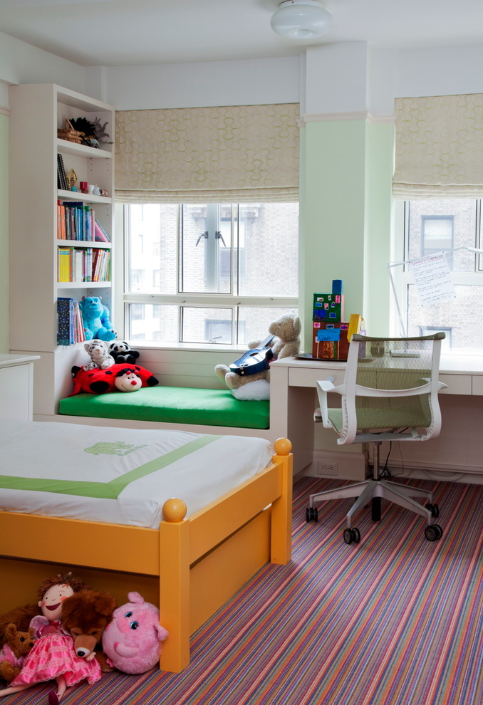 kids bedroom desk yellow bed colorful striped carpet built in shelves bench and desk office chair windows green cushion roman shades