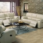 Living Room With Recliners Wooden Coffee Table Iron Base Grey Rug Wooden Floor Stone Wallpaper Purple Walls Glass Windows