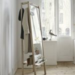 Mirror With Wooden Frame, Shelves Below, Hanger At The Back