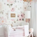 Nursery With Flowery Wallpaper, Wooden Floor, Pink Rug, Stuffed Horse, White Box, White Floor Lamp