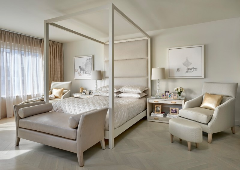 queen size canopy bed sets beige bench tall headboard beige bedding pillows table lamps nightstands armchair stool curtains herringbone floor