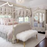 Queen Size Canopy Bed Sets Chandelier White Shag Bench Mirrored Cupboard Desk Chair Nightstands White Area Rug Windows Curtains
