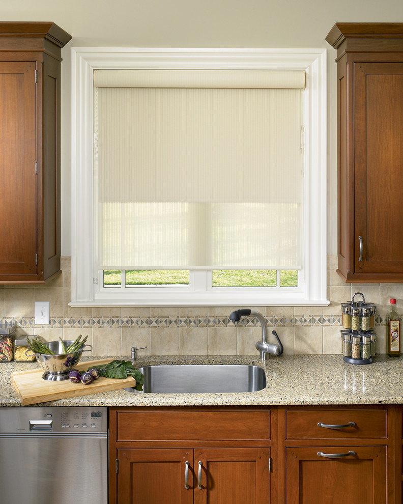 roll up window shade undermount sink faucet dishwasher granite countertop beige backsplash wooden cabinets white framed glass window