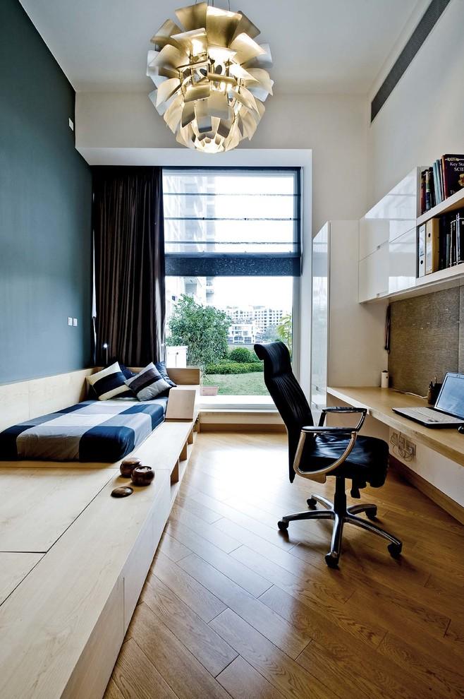 underbed storage solutions chandelier black office chair wooden platform bed blue bedding pillows windows white cabinets shelves desk curtain