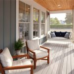 White Hanging Sofa With Pillows In White Wooden Floored Porch With Wooden Chairs With White Cushion