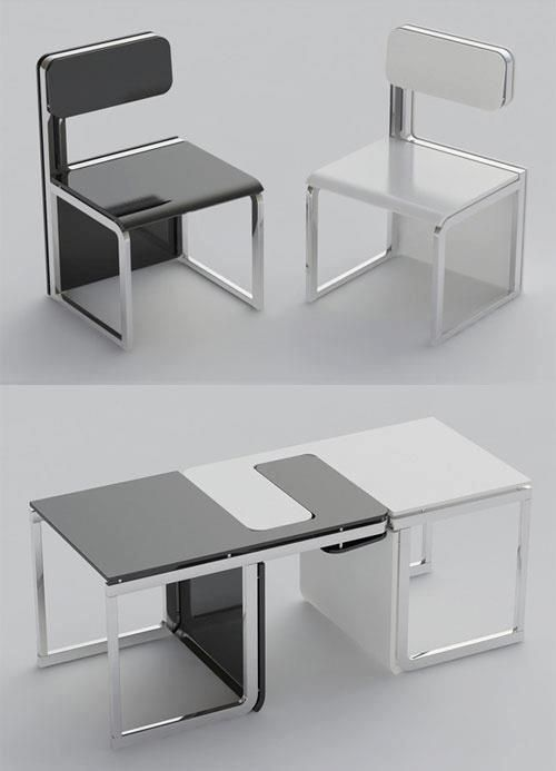 White and Black table that can be separated as two chairs