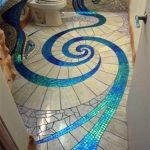 Bathroom With Customed Artistic Floor In Brown And Blue