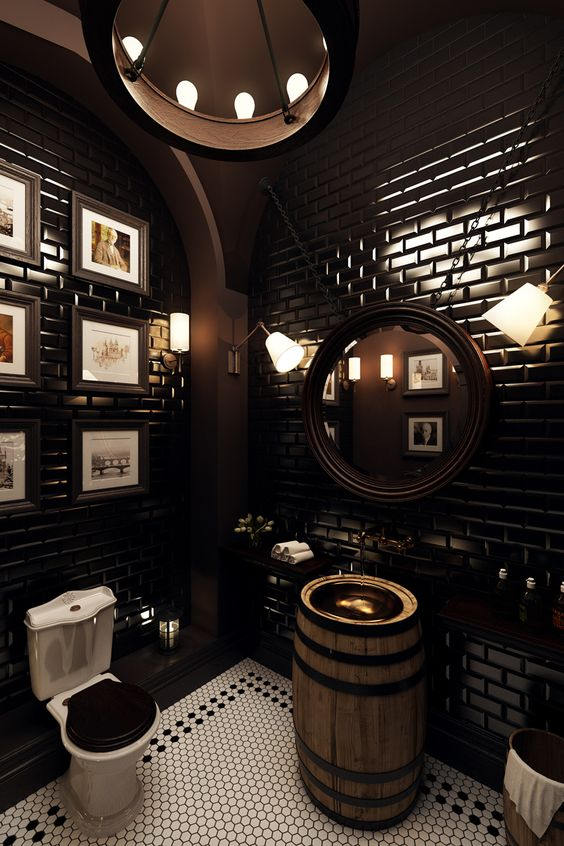 bathroom with shiny black bricks on the wall, dark brown painted wall and floor, white small hexagonall tiles