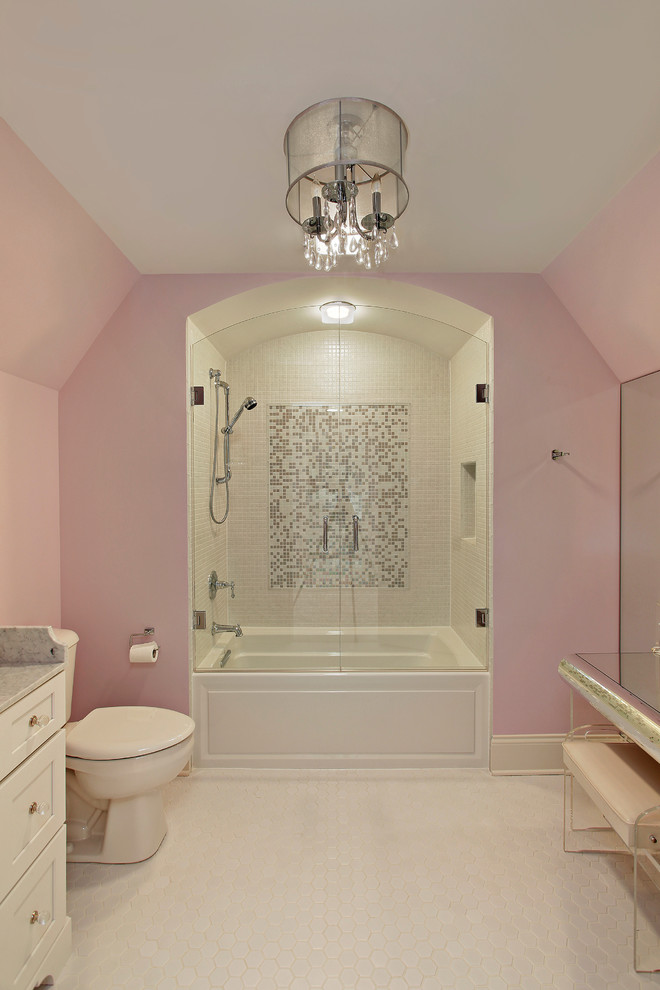 bathtub cartridge pink walls chandelier built in tub ceiling lamp bench white vanity mirror toilet white floor white ceiling mosaic shower wall tile