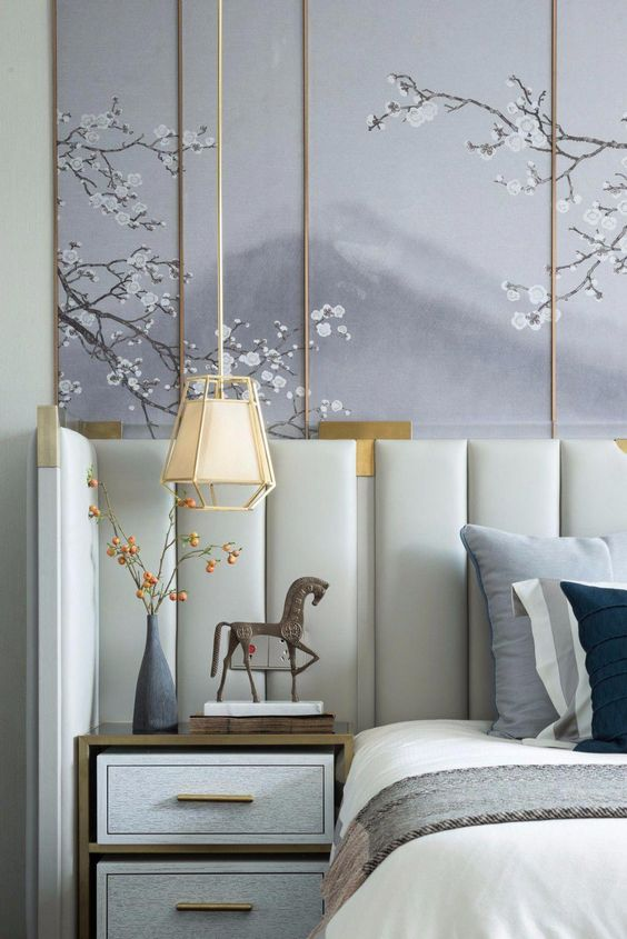bedside hanging lamp with off white french style cover