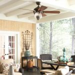 Best Outdoor Ceiling Fan Glass Ceiling Fan White Ceilingblack Rattan Chairs Black Wooden Tables Wooden Bench Beige Cushions Patterned Pillows Wooden Wall Black Floor Tile