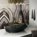 Black Shiny Diamon Cut Bathtub, White Marble Floor, Gold Black Chandelier