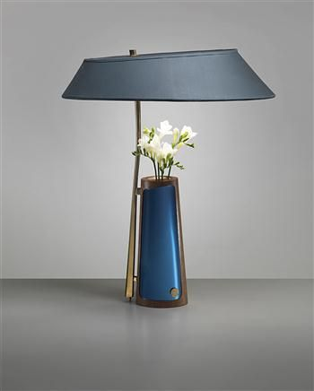 blue table lamp with flowers vase