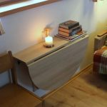 Brown Wooden Mounted Table And Shelves